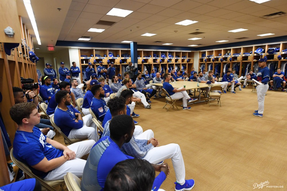 Photo of Dodgers meeting in the Locker Room at Camelback Ranch, with Credit to Jon SooHoo/LA Dodgers